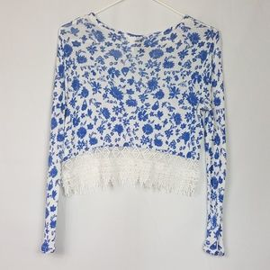 Divided H&M Tops - Divided H&M Crop Top White and Blue Size XS A79